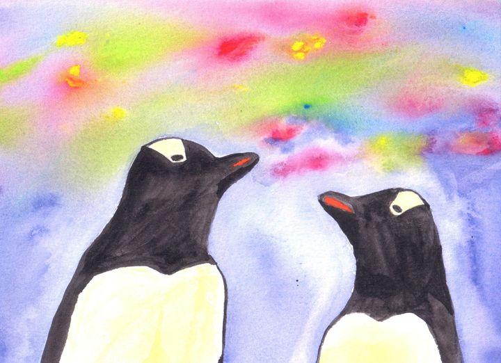 penguins under night sky - SheepyShakeShack