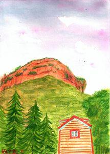 cabin under cliff