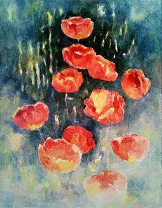 Tulips on dim