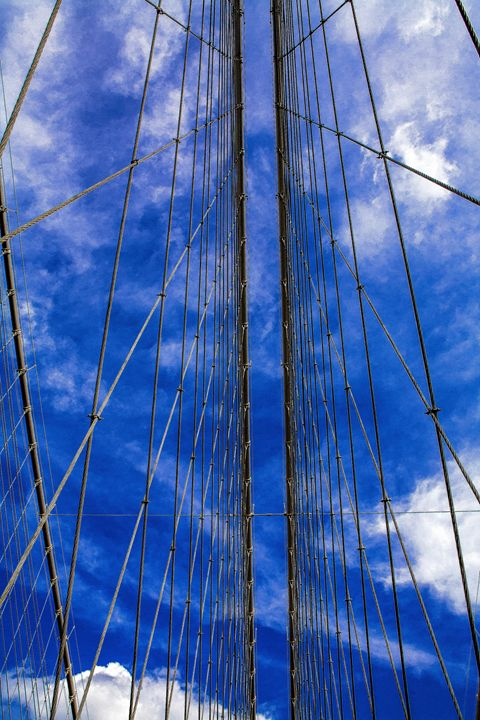 Sky through Brooklyn Bridge Cables - debchePhotography