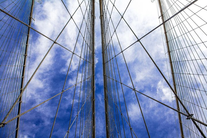 Brooklyn Bridge Cables and sky - debchePhotography