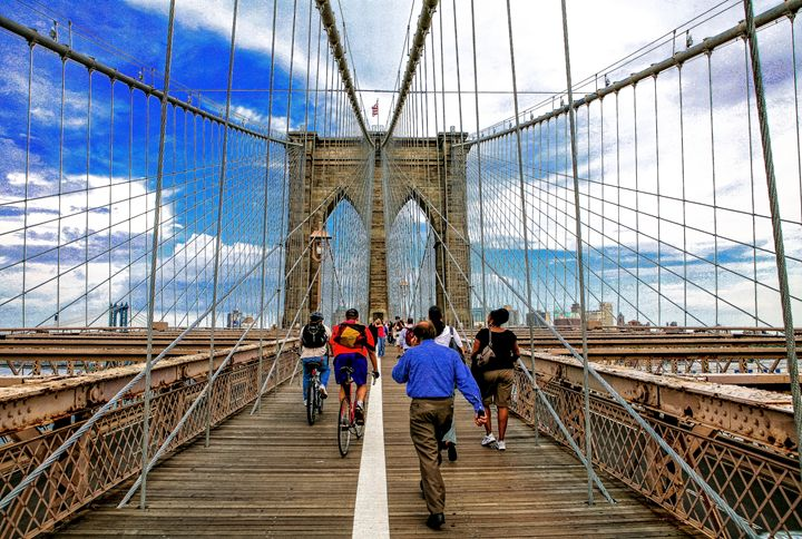Pedestrians on the Brooklyn Bridge - debchePhotography