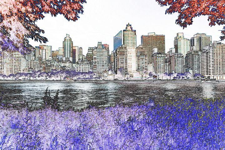 Illustration of Manhattan Skyline - debchePhotography