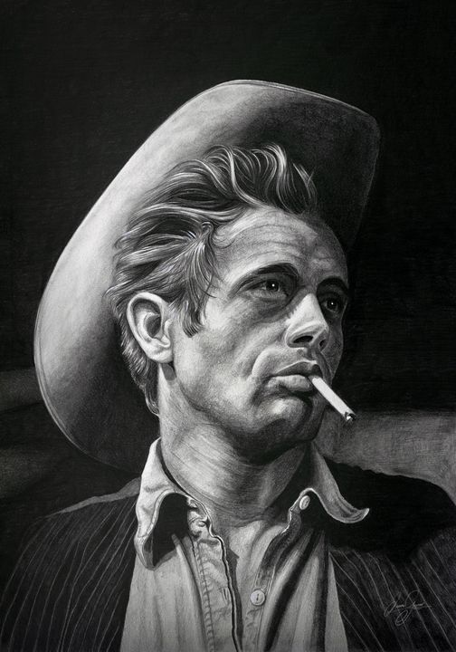 James Dean Print - James Garner Portraits and Illustration