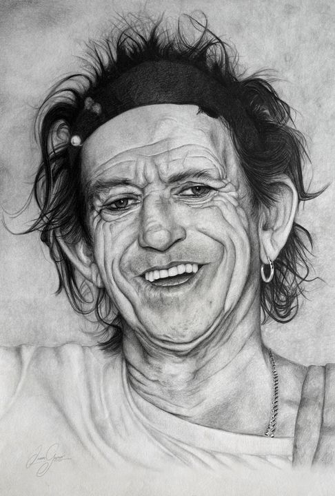 Keith Richards Print - James Garner Portraits and Illustration