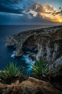 Blue grotto during sunset.