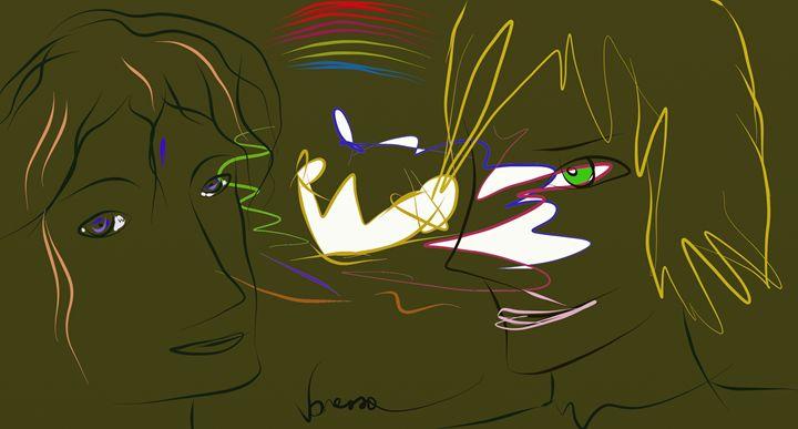 Pair with olive green background - Vanessa Schlachtaub Bruni