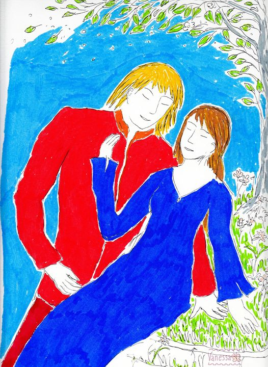 Couple in Red and Blue - Vanessa Schlachtaub Bruni