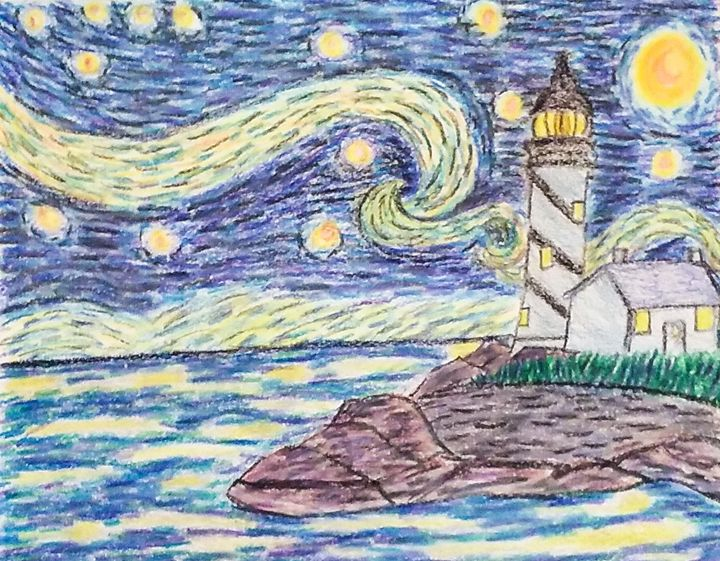 Starry Night With Lighthouse - M.Y.Hauger