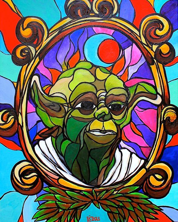 Stained glass Yoda - Lazaroart