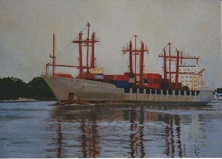Ship Entering Savannah Harbor - Terry Forrest Fine Art