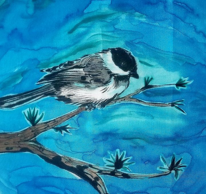 Chickadee on Silk - Prints from Creation Creatures