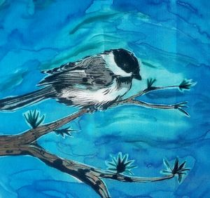 Chickadee on Silk