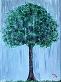 Original painting of a tree in rain