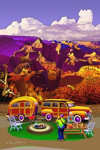 ART GRAND CANYON CAMPING WOODY WAGON