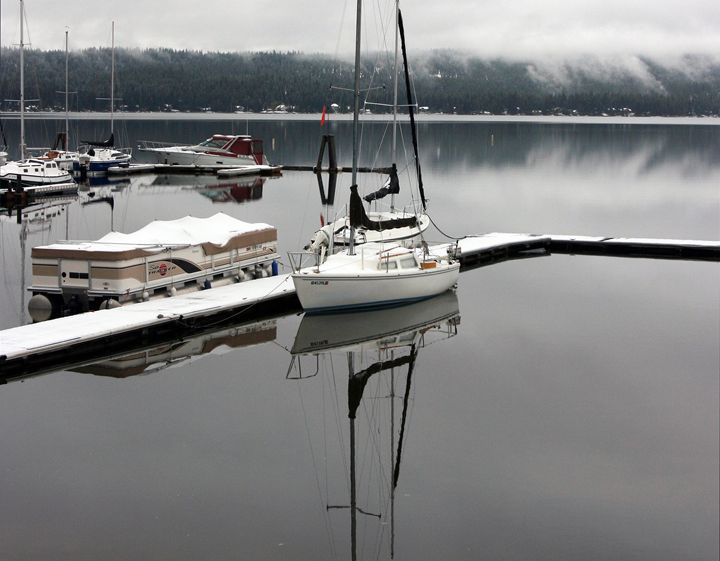 Sailboat Docked on a Mountain Lake - Gerry Slabaugh Photography