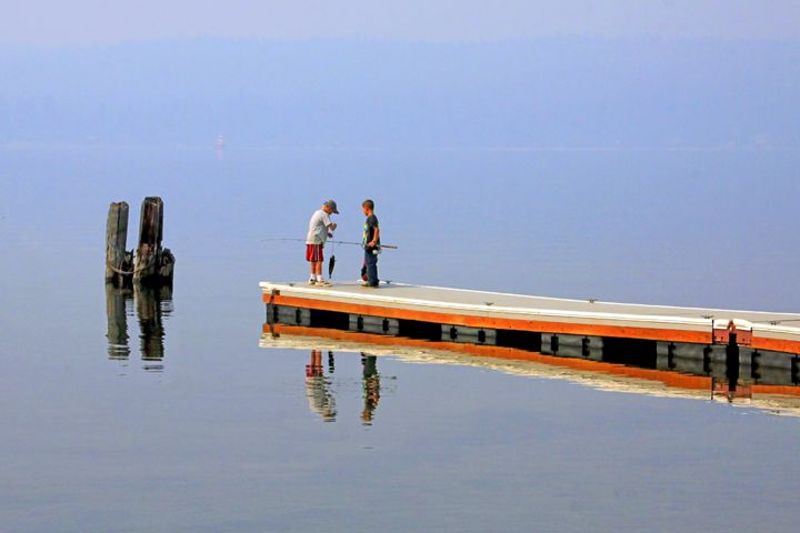 Two Boys Fishing on a Mountain Lake - Gerry Slabaugh Photography