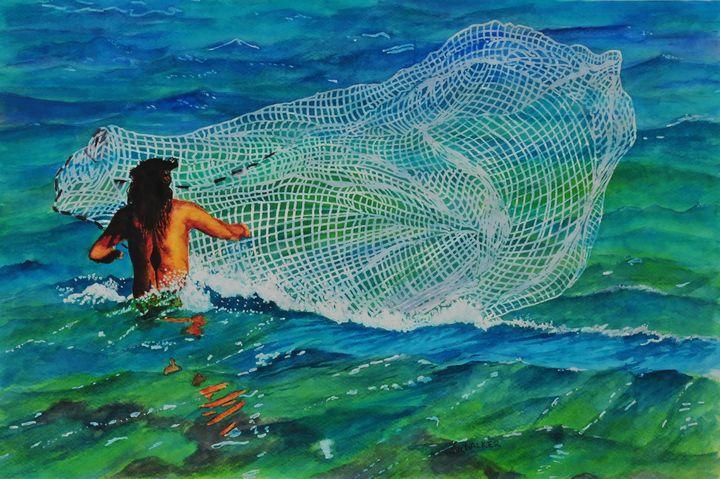 Kauai Net Fisherman - John W. Walker Art