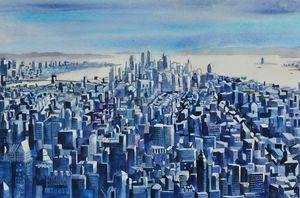 1910 Cityscape in Blue