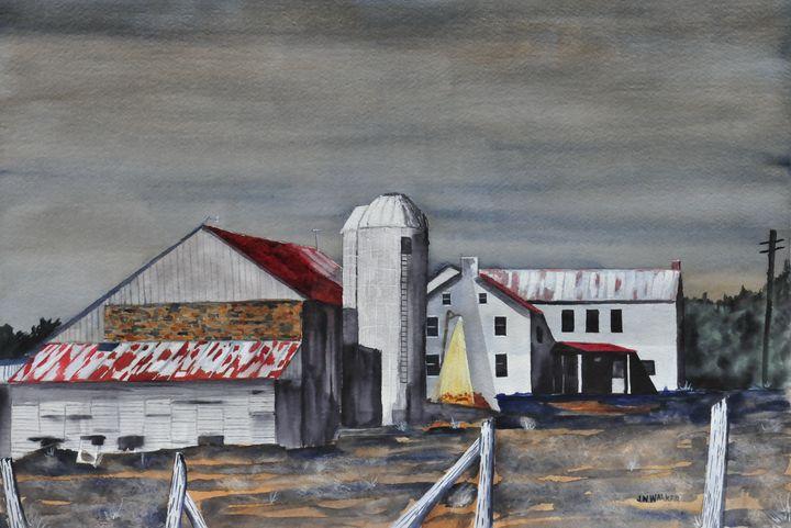 The Farm in Moonlight - John W. Walker Art