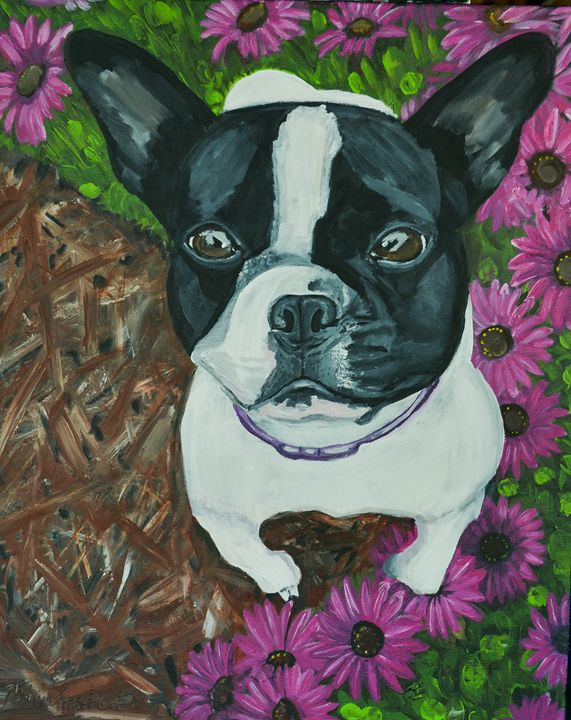French Bulldog with Daisies - MKDL Paintings and More