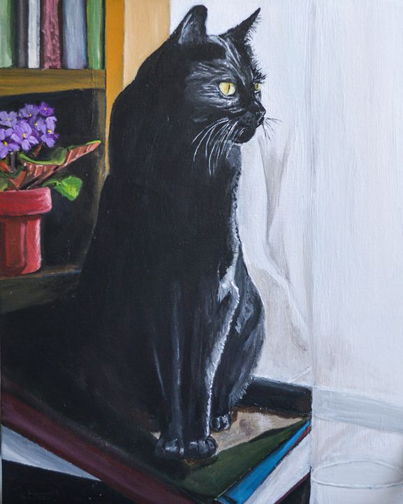 Black Cat with Books - MKDL Paintings and More