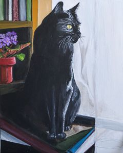 Black Cat with Books