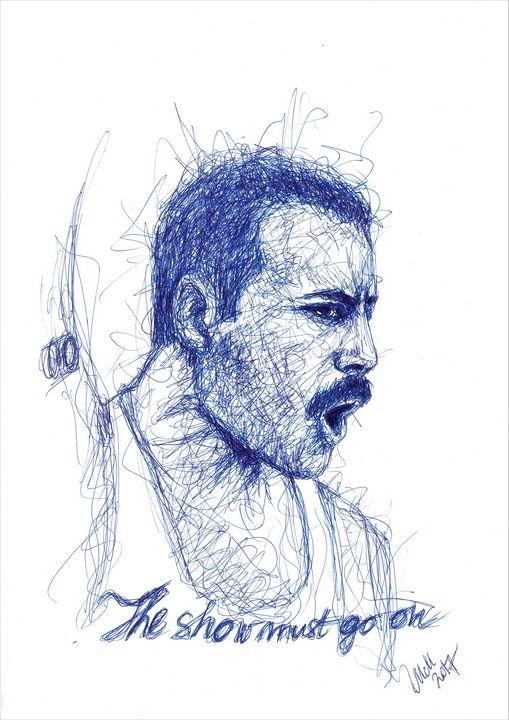 Blue line custom portrait - MM Art Studio