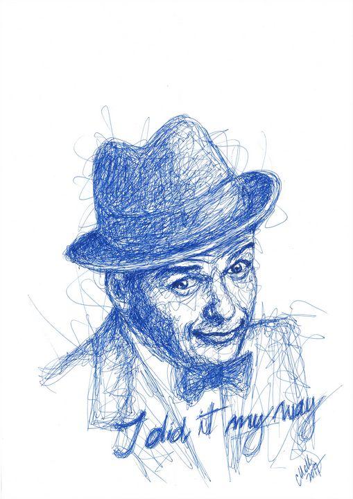 Frank Sinatra thin blue line drawing - MM Art Studio