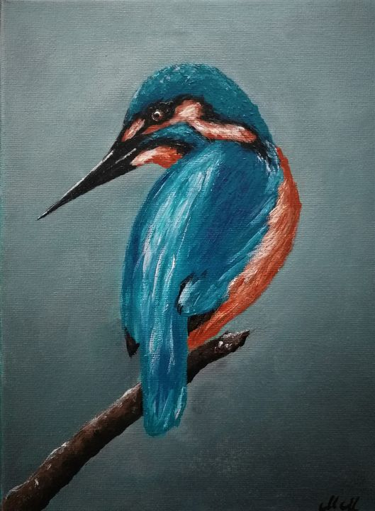 Kingfisher - original bird painting - MM Art Studio