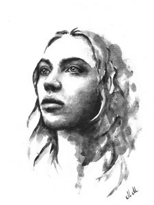 Black and white watercolor portrait