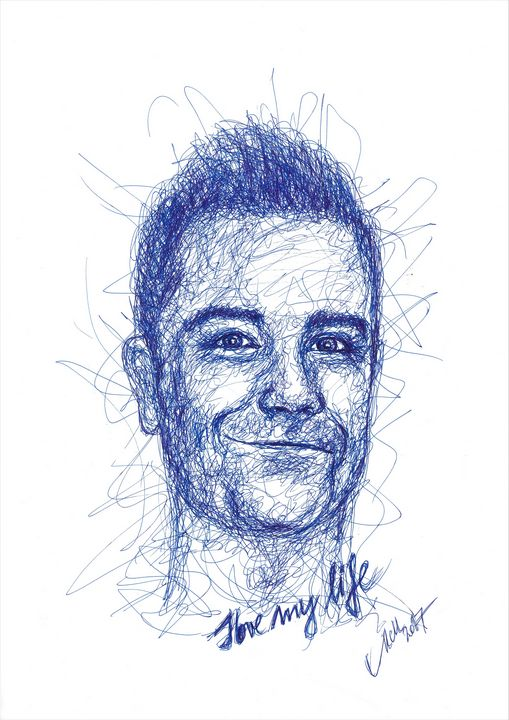 Robbie Williams - blue line drawing - MM Art Studio