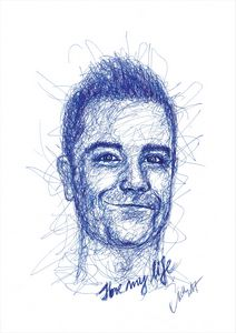 Robbie Williams - blue line drawing