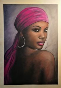 African beauty - original oil pastel