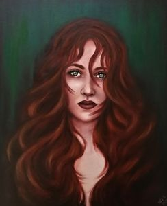 Red hair woman - original oil art