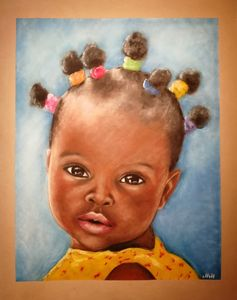 African baby girl original portrait