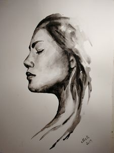 Alone - original watercolor portrait