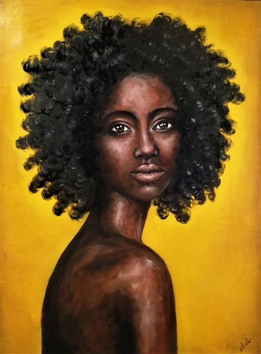 African Beauty original oil artwork - MM Art Studio