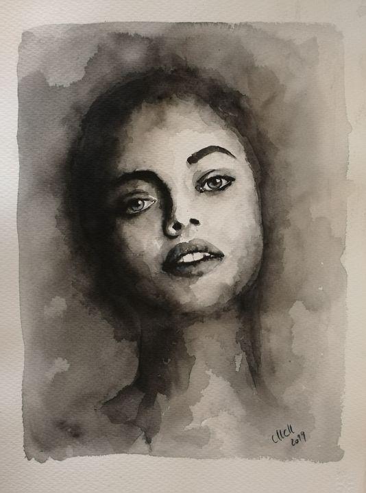 Black and white watercolor portrait - MM Art Studio
