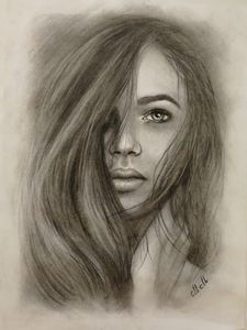 Beautiful girl - original charcoal