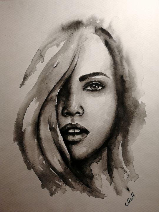 She - original watercolor portrait - MM Art Studio