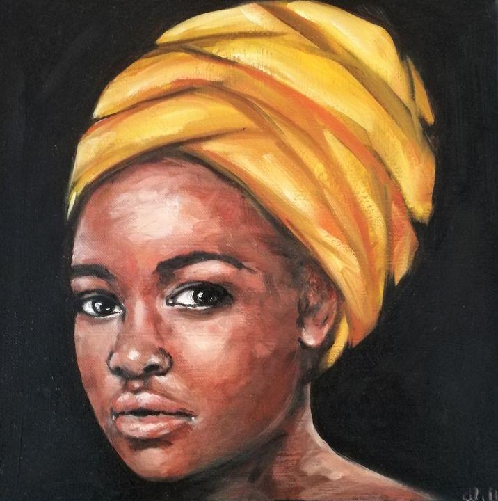 Beauty with yellow scarf - oil art - MM Art Studio
