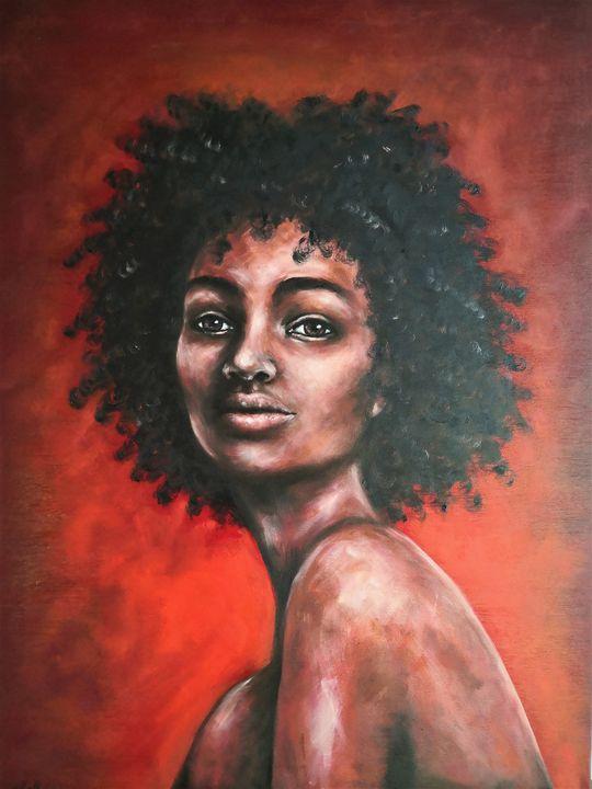 African Beauty - original oil art - MM Art Studio