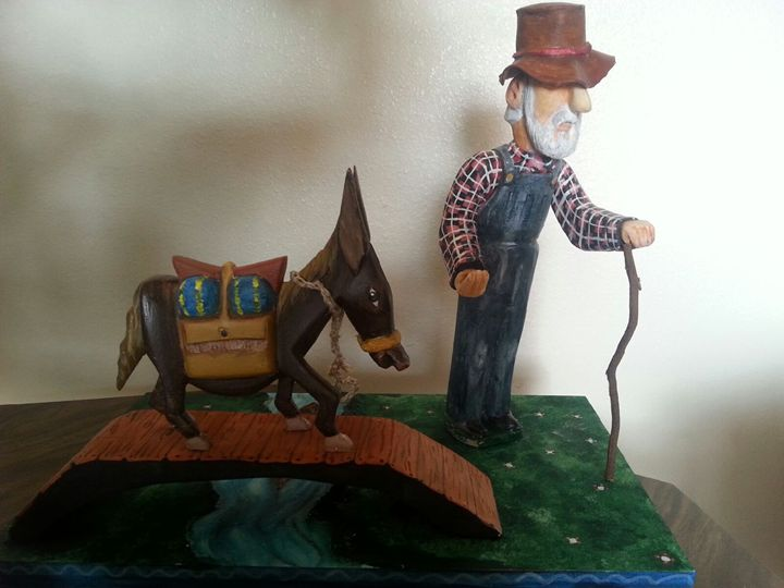 OLD MAN WITH HIS BURRO - BRENDA FLORES HAND CARVED WOOD SCULPTURES