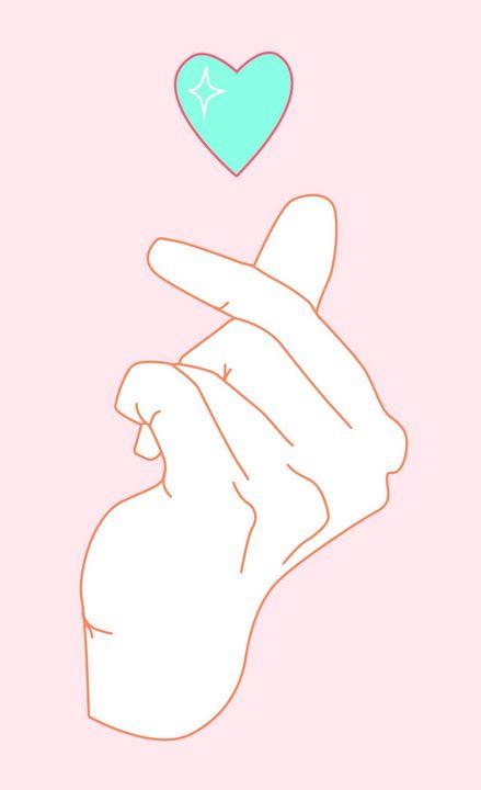 Finger Heart - Peachy Artwork - ART PLEASURE