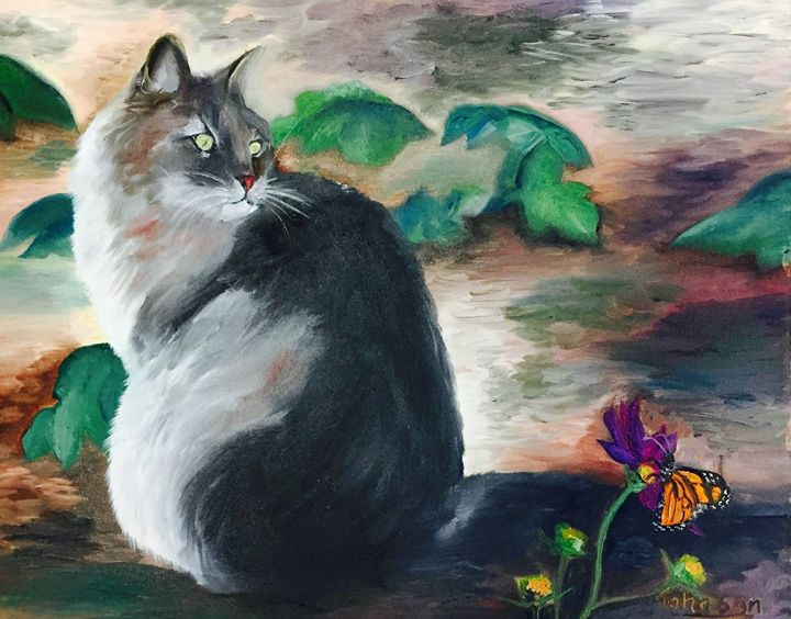 Kitty in the Garden - Christie Pheona Lathan Art For You