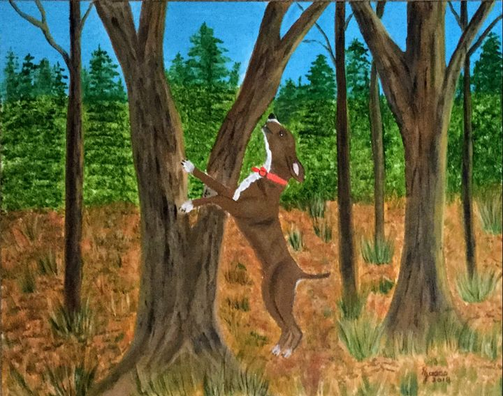 Ruger Treeing A Squirrel - Regena Jones Art In Bloom
