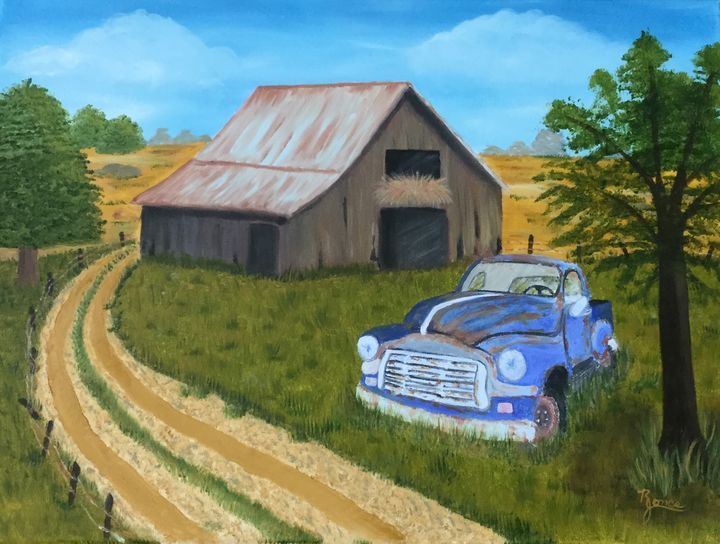 The Old Truck At The Barn - Regena Jones Art In Bloom
