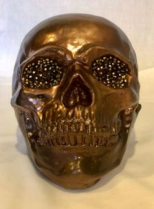 Bronze Skull with Crystals