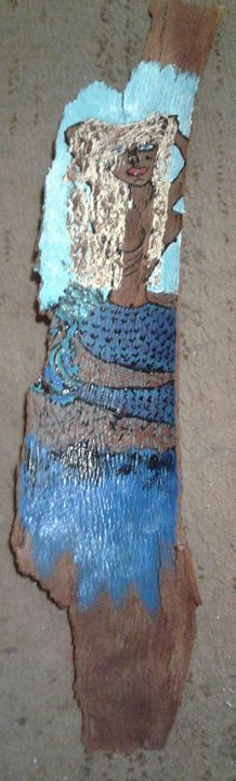 """SUNBATHING MERMAID"" TREE BARK ART - Islandtreasures247"